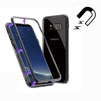 Funda Samsung Galaxy S8 Plus, [Adsorción Magnética] Marco de Metal Carcasa de Teléfono Parachoque Imanes Incorporados con Cubierta Dura de Trasera de ...