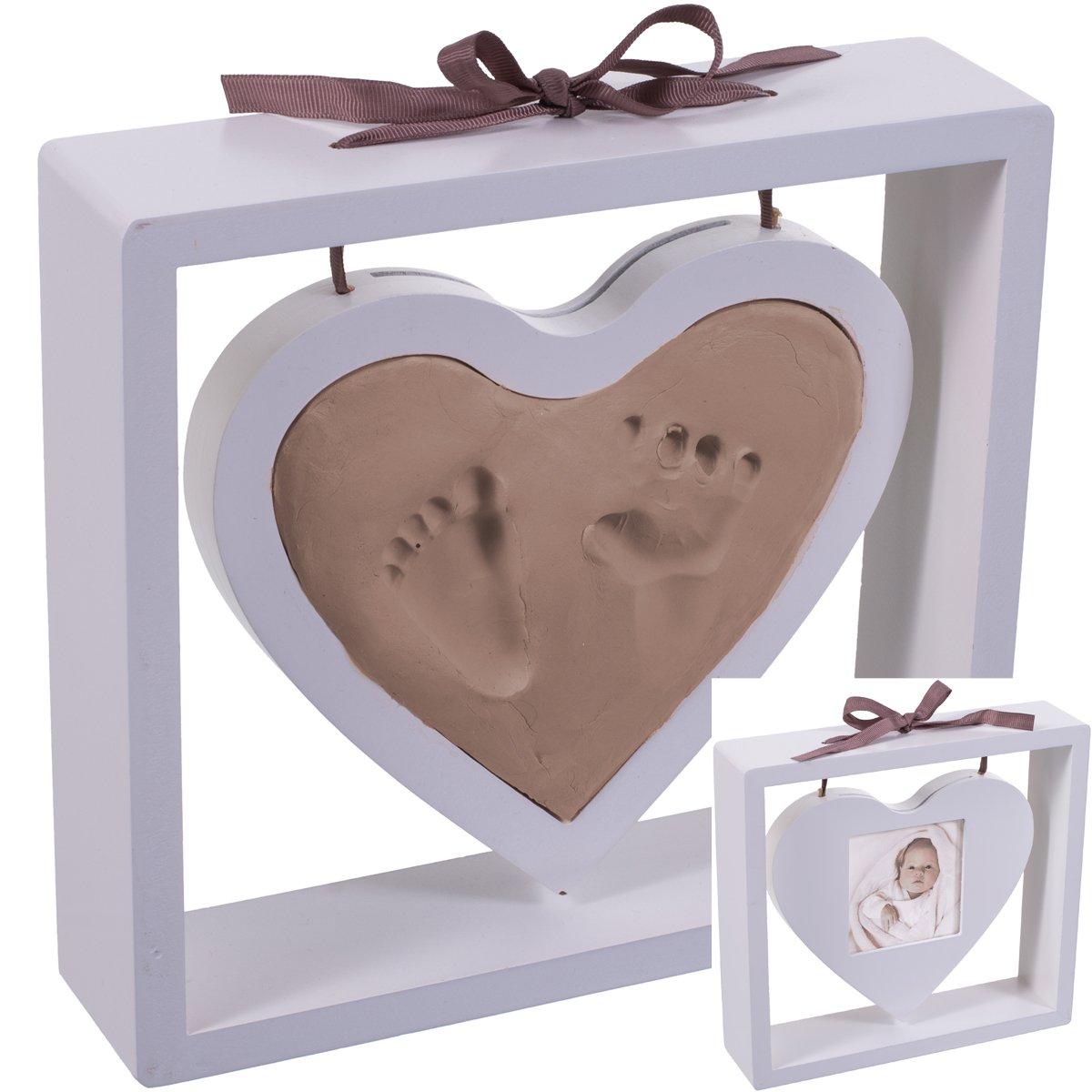 22cm Abdruck-Set und Holz Bilderrahmen Herz zum Aufstellen | Baby Hand Fuß Modellier Masse Weiss H-Bieco
