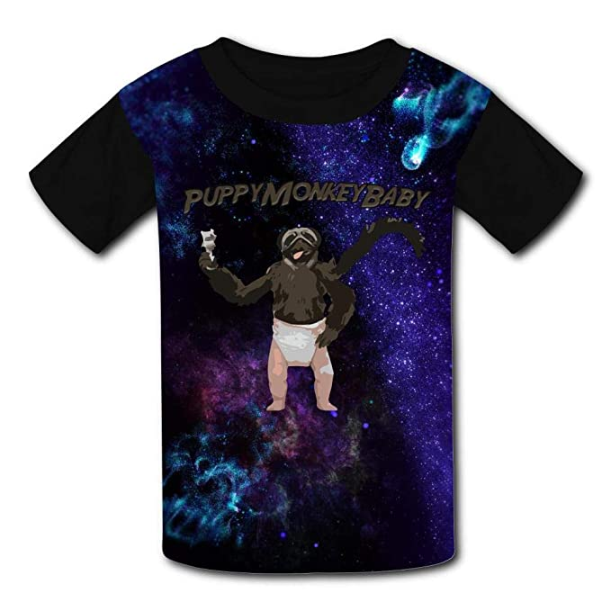 8b6828baf483 Amazon.com  Kids Puppy Monkey Baby Summer Casual Short Sleeve Tee Creative  3D Printed Graphic Hipster Design T Shirt  Clothing