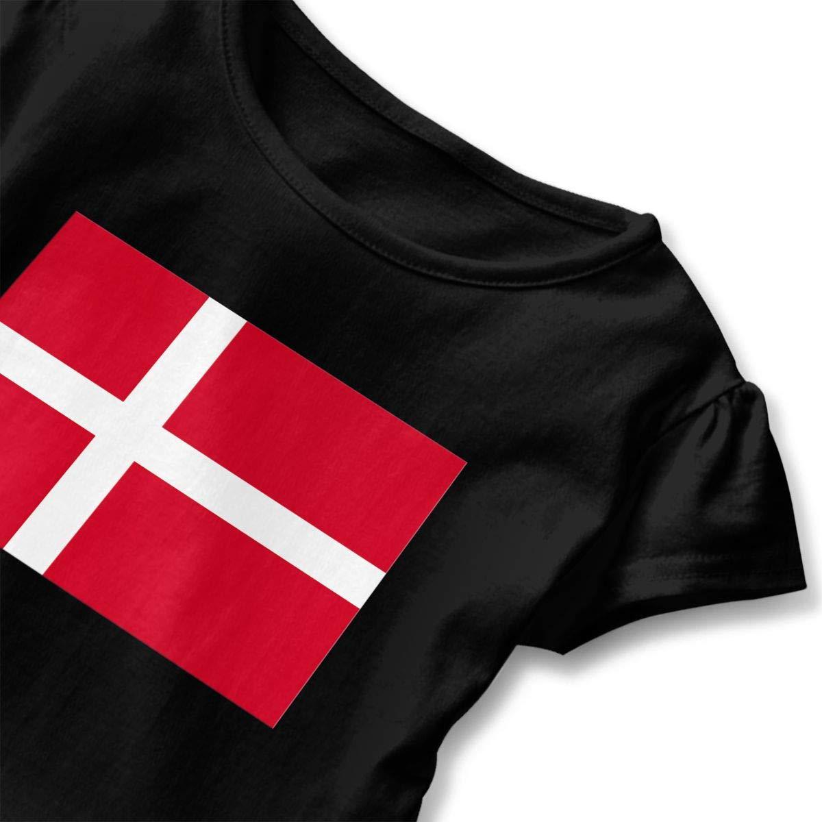 JVNSS Denmark Flag Shirt Soft Toddler Girls Flounced T Shirts Graphic Tees for 2-6T Kids Girls