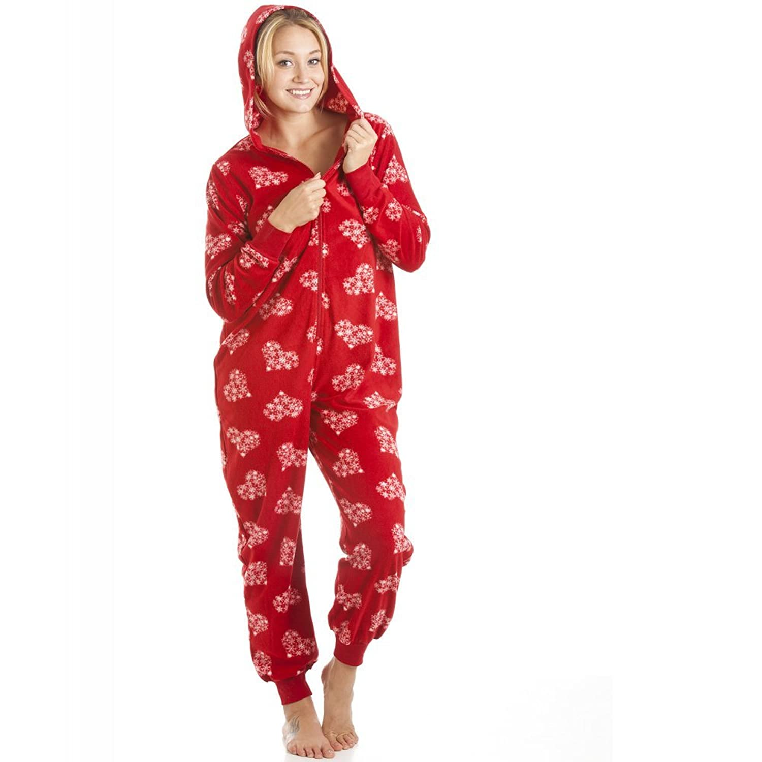 Camille Ladies Nightwear Supersoft Red And White Snowflake Love Heart All In One