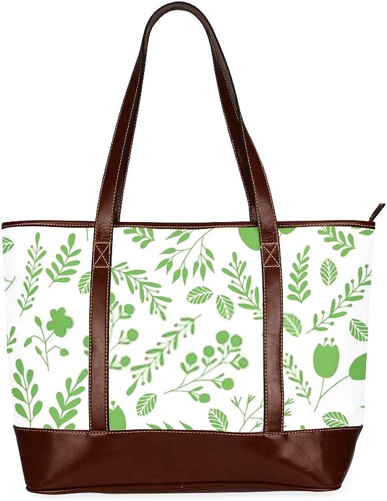 Tote Bags Vector Floral Seamless Pattern Green Garden Travel Totes Bag Fashion Handbags Shopping Zippered Tote For Women Waterproof Handbag
