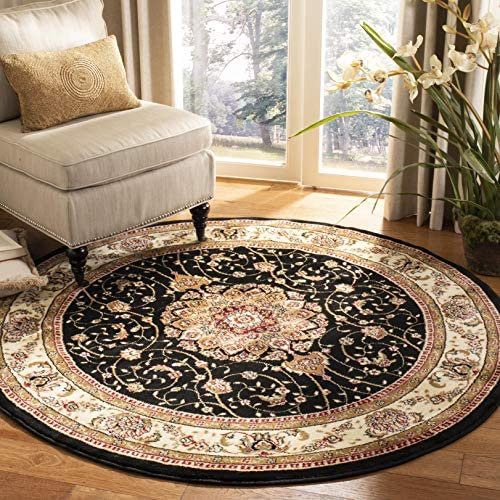 Safavieh Lyndhurst Collection LNH329A Traditional Medallion Black and Ivory Round Area Rug 4' Diameter