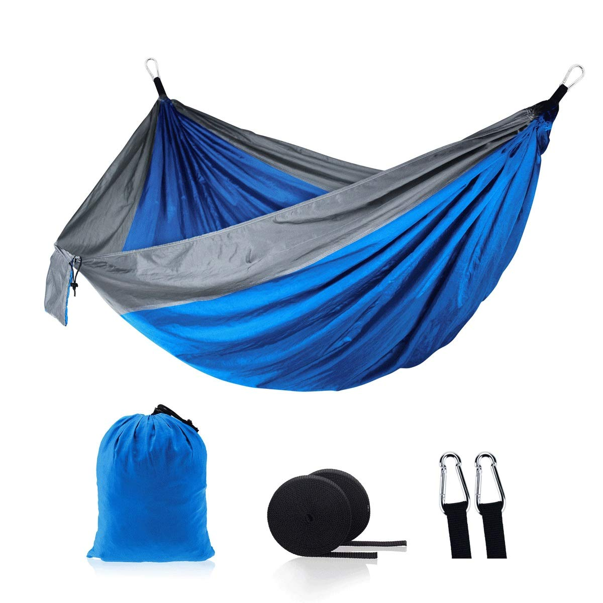 Portable Double Hammock, Lightweight Nylon Portable Hammock, Outdoor Camping Swing Portable Mosquito Hammock, 270140cm for Outdoor Camping/Grilling (Color : Blue) by SXHHH