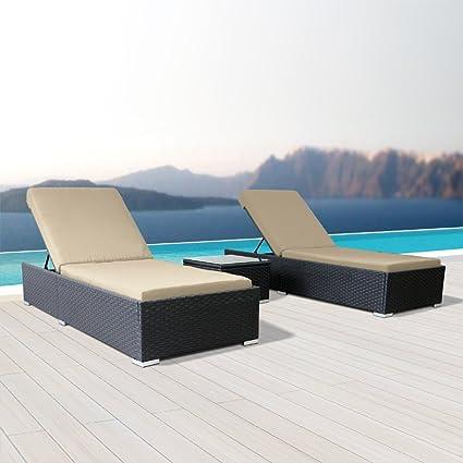 Amazon.com: modenzi 3pcs tumbona Seccional Muebles de jardín ...
