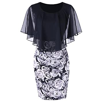 Womens Plus Size Bodycon Fashion Casual Rose Print Chiffon Mini Dress O-Neck  Ruffles Sleeveless 28e8e7914f98
