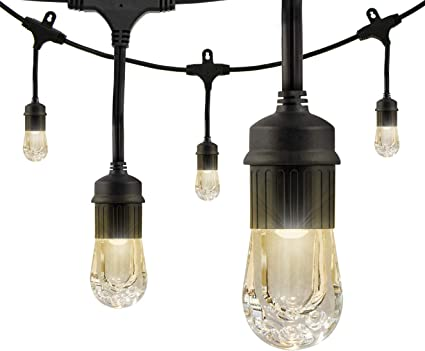 Enbrighten classic led cafe string lights black 48 foot length 24 enbrighten classic led cafe string lights black 48 foot length 24 impact resistant aloadofball Choice Image