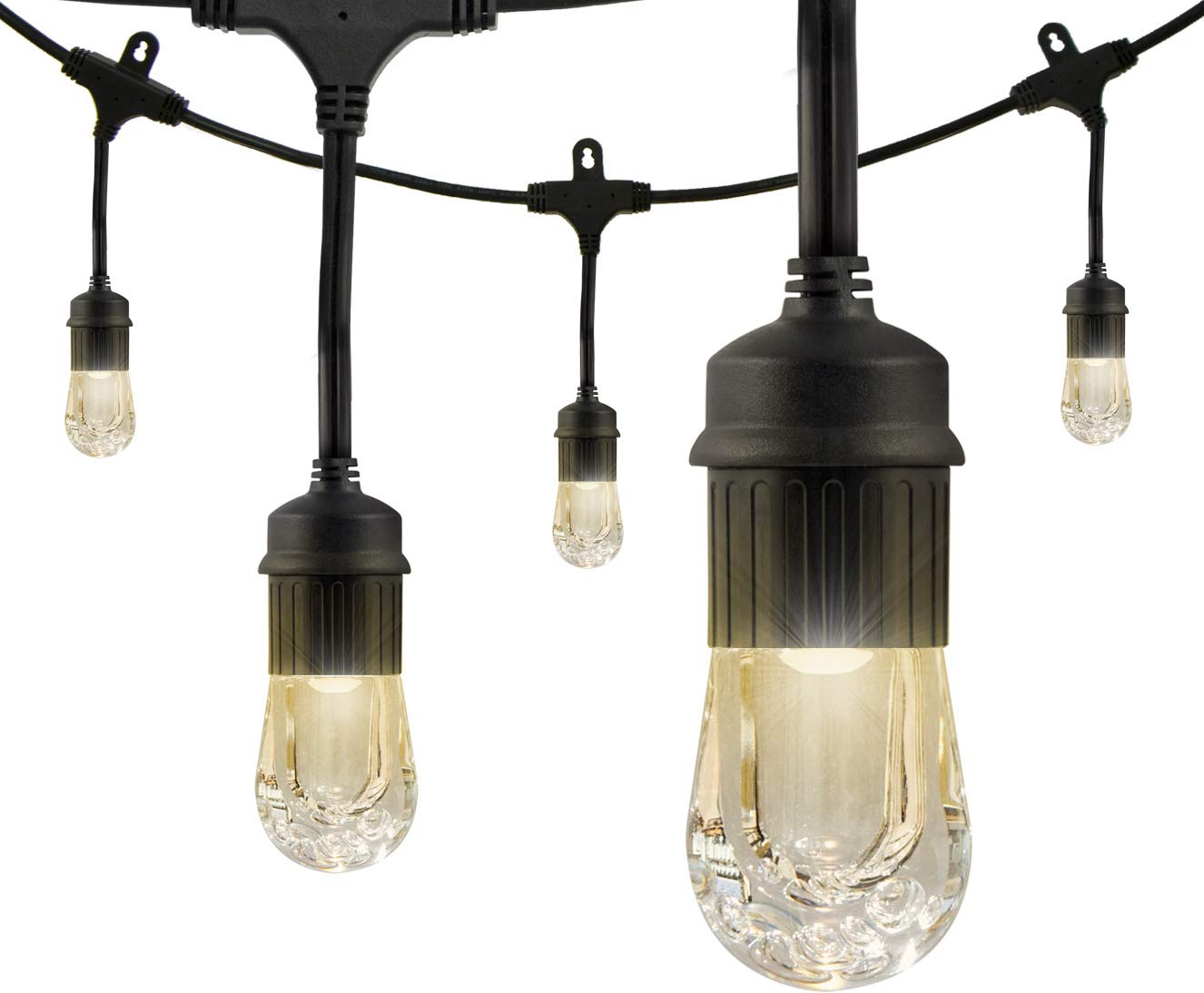 Enbrighten Classic LED Cafe String Lights, Black, 24 Foot Length, 12 Impact Resistant Lifetime Bulbs, Premium, Shatterproof, Weatherproof, Indoor/Outdoor, Commercial Grade, UL Listed, 31662