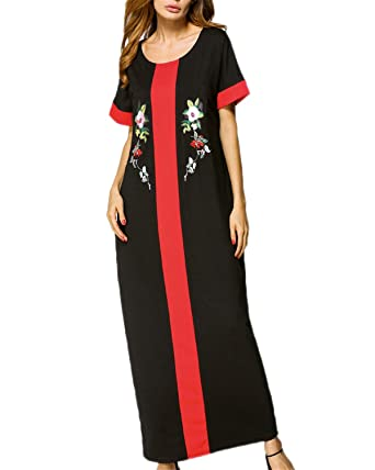 Auxo Damen Kurzarm Lose Lang Kleider Cocktail Party Maxi Dress ...