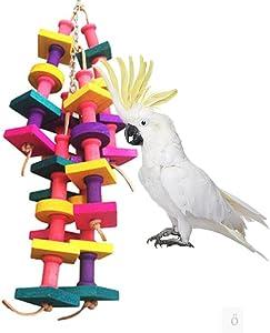 Keersi Natural Wood Bird Chew Toy for Medium Large Parrot Conure Macaw African Grey Amazon Cockatoo Amazon Budgies Parakeet Cockatiel Lovebird Finch Cage