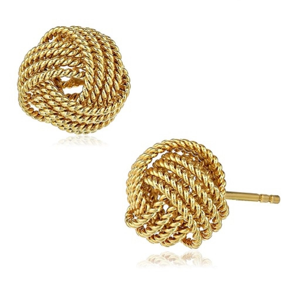 Diane Lo'ren 18kt Gold Plated Twisted Love Knot Studs Earrings Sets For Women