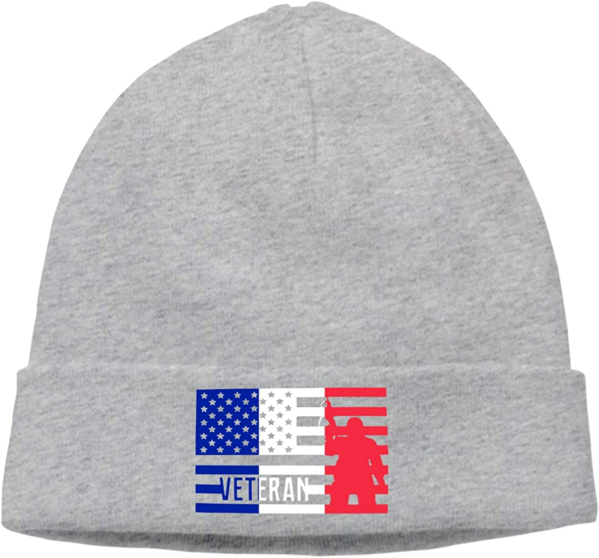 Stretchy /& Soft Winter Cap Thin Veteran American France Flag Men /& Women Solid Color Beanie Hat