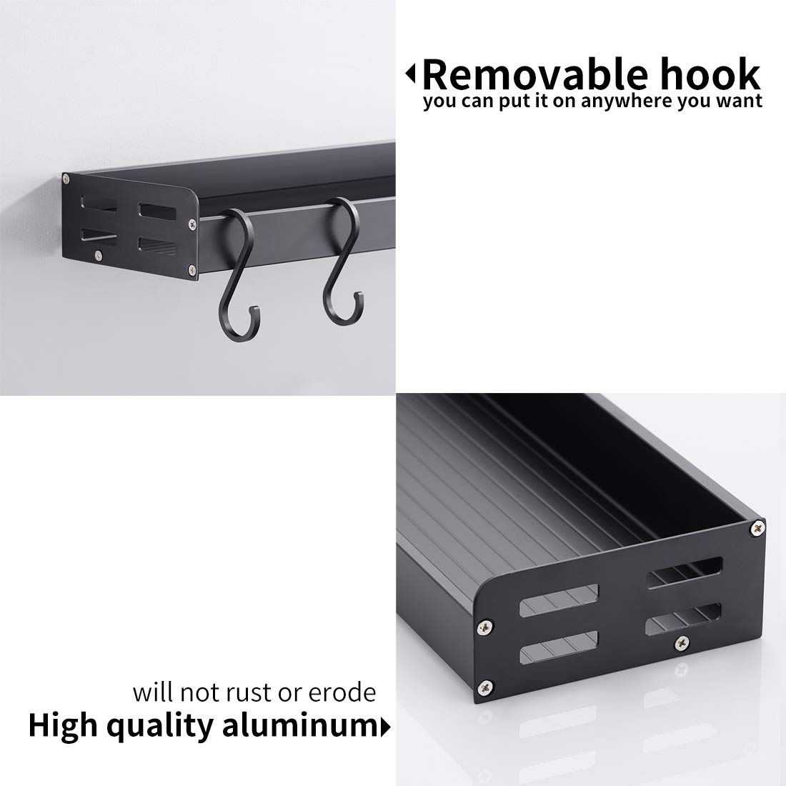 LIKAMU Kitchen Black Floating Shelf with Hooks, Large Size Wall Mounted Bathroom Shelf Wall Shelf Organizer Rack