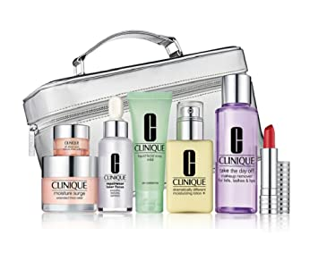 Clinique 8 Pcs the Gift of Great Skin Set in Silvery Train Case