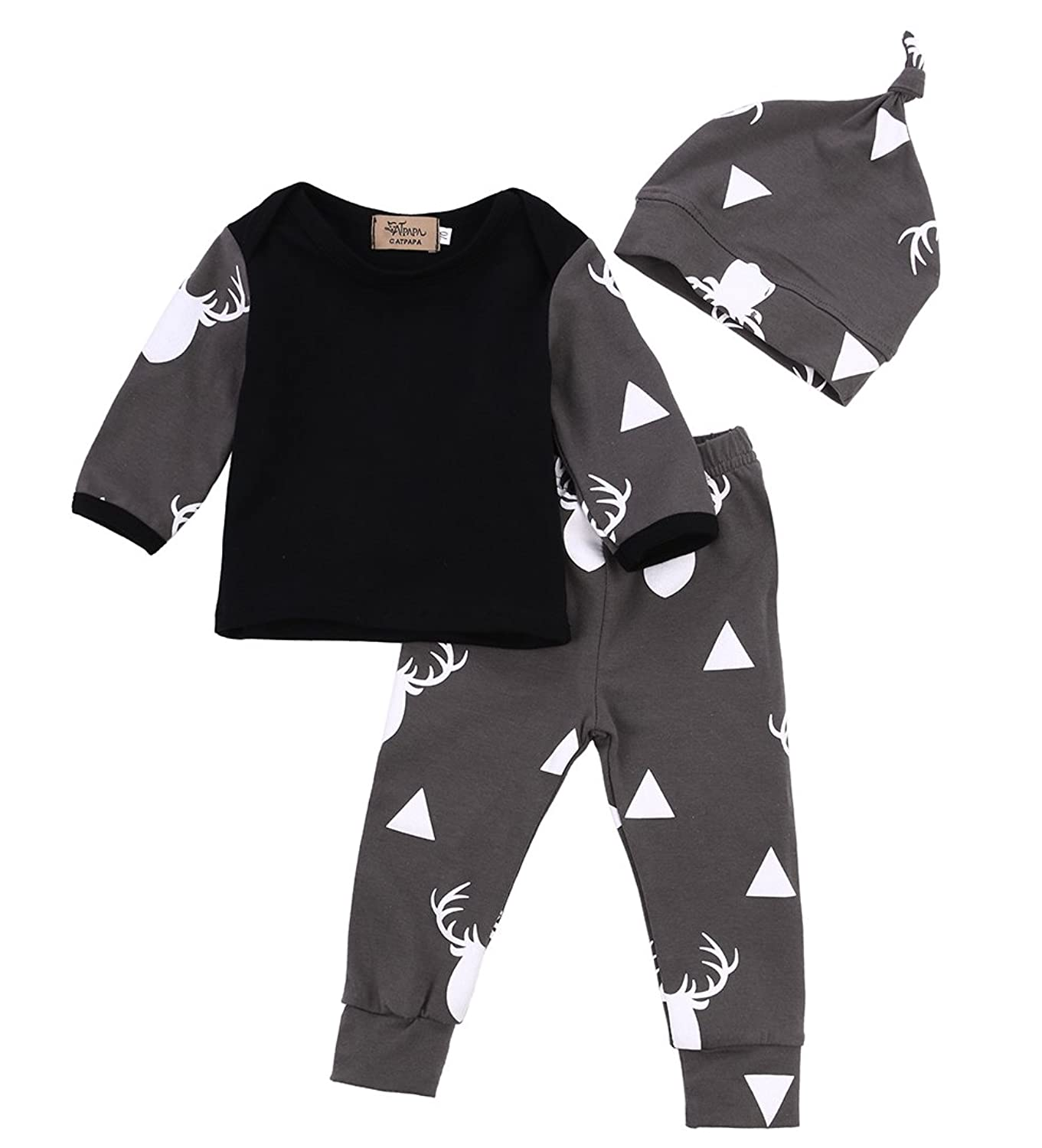 Amazon Newborn Baby Girl Boy Clothes Deer Tops T shirt Pants
