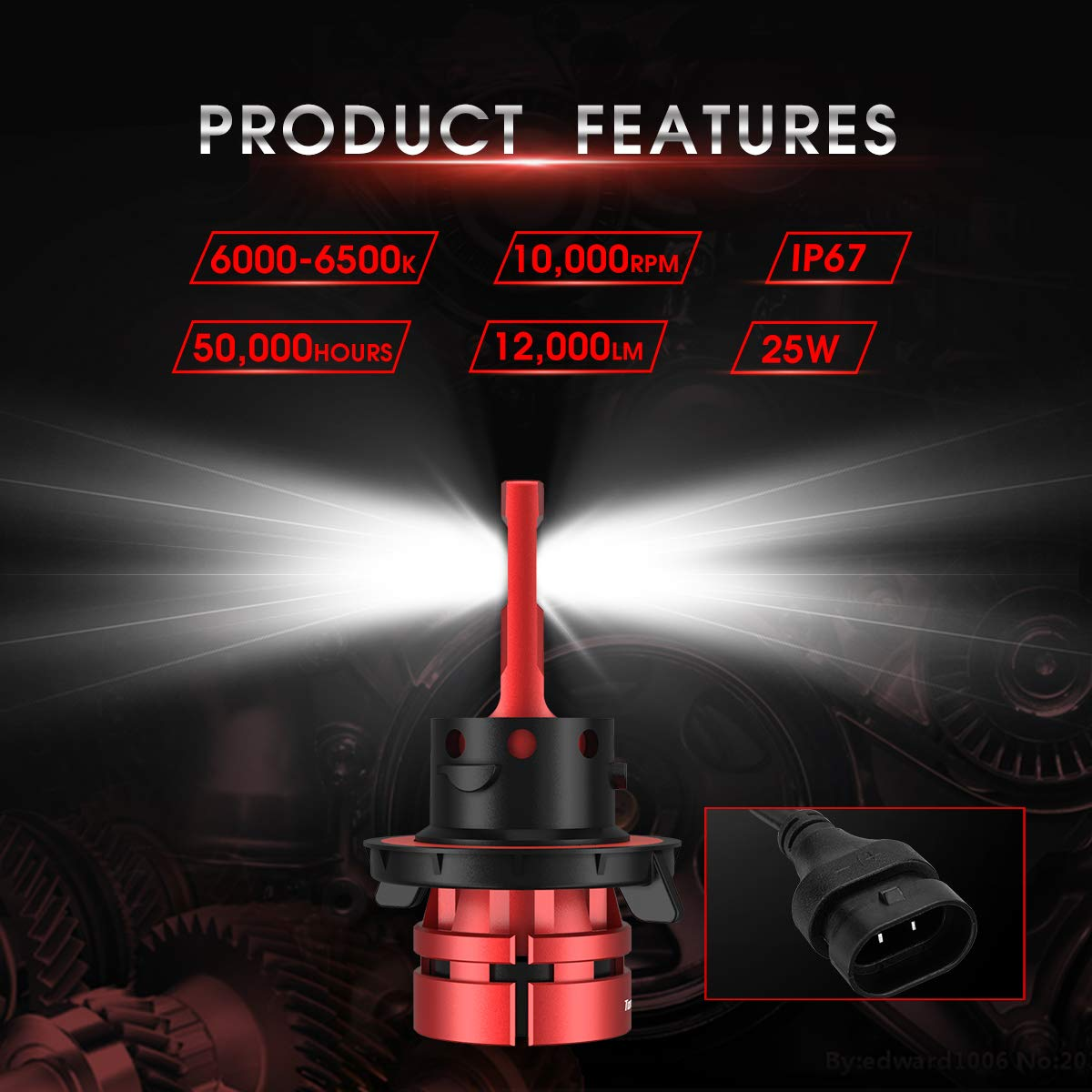 Torchbeam H13 9008 LED Headlight Bulbs 2019 Upgraded Mini Size Extremely Bright 12000LM 6000K 6 CSP Chips Cool White Replacement Bulbs