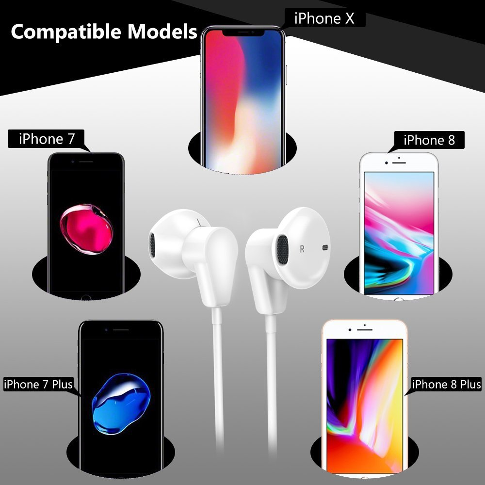 IPhone Bluetooth Earphones, AXELECT Lightning Headset Earbuds Wired Earphones Stereo Headphones with Microphone and Remote Control for iPhone X 8/8Plus 7/7Plus