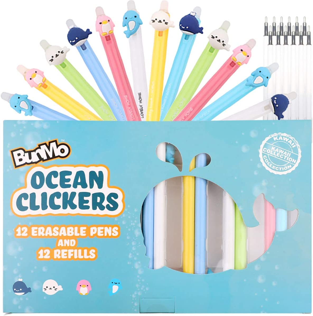Erasable & Cute Kawaii Retractable Pens - 12 Blue Ink Colored Ballpoint Pens + 12 Black Ink refills - Kawaii Stationary Office School Supplies