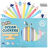 Erasable & Cute Kawaii Retractable Pens - 12 Blue Ink Colored Ballpoint Pens + 12 Black Ink refills - Kawaii Stationary…