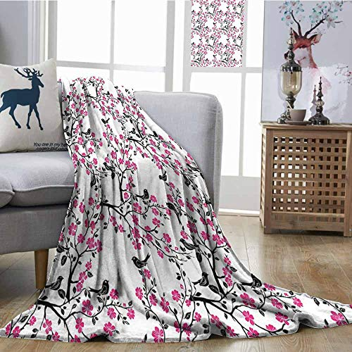 SONGDAYONE Multi-Pattern Blanket Cherry Blossom Easy to Clean Sakura Tree with Flourishing Flowers and Birds Black Silhouettes Black Hot Pink White W51 xL60