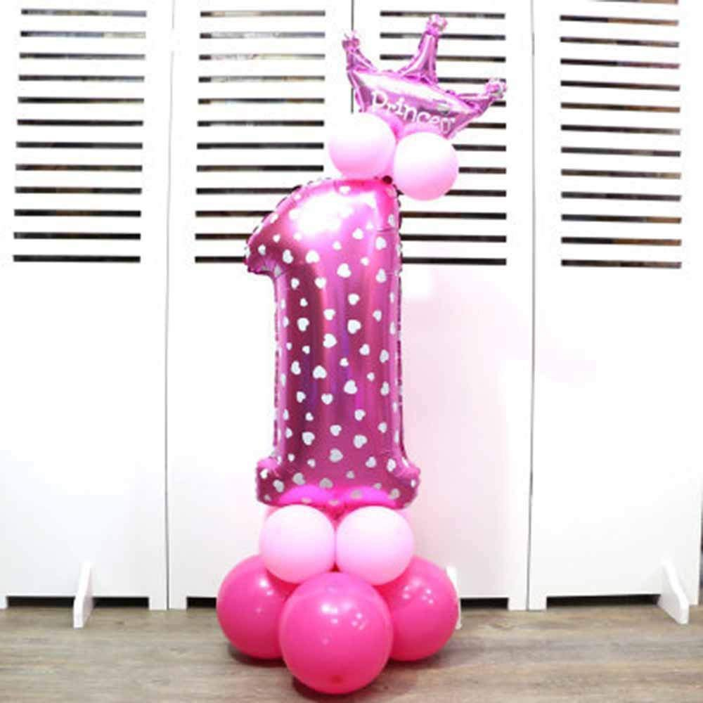 Numbers 0-9 Foil Balloons Birthday Party Crown Shape Digit Balloons