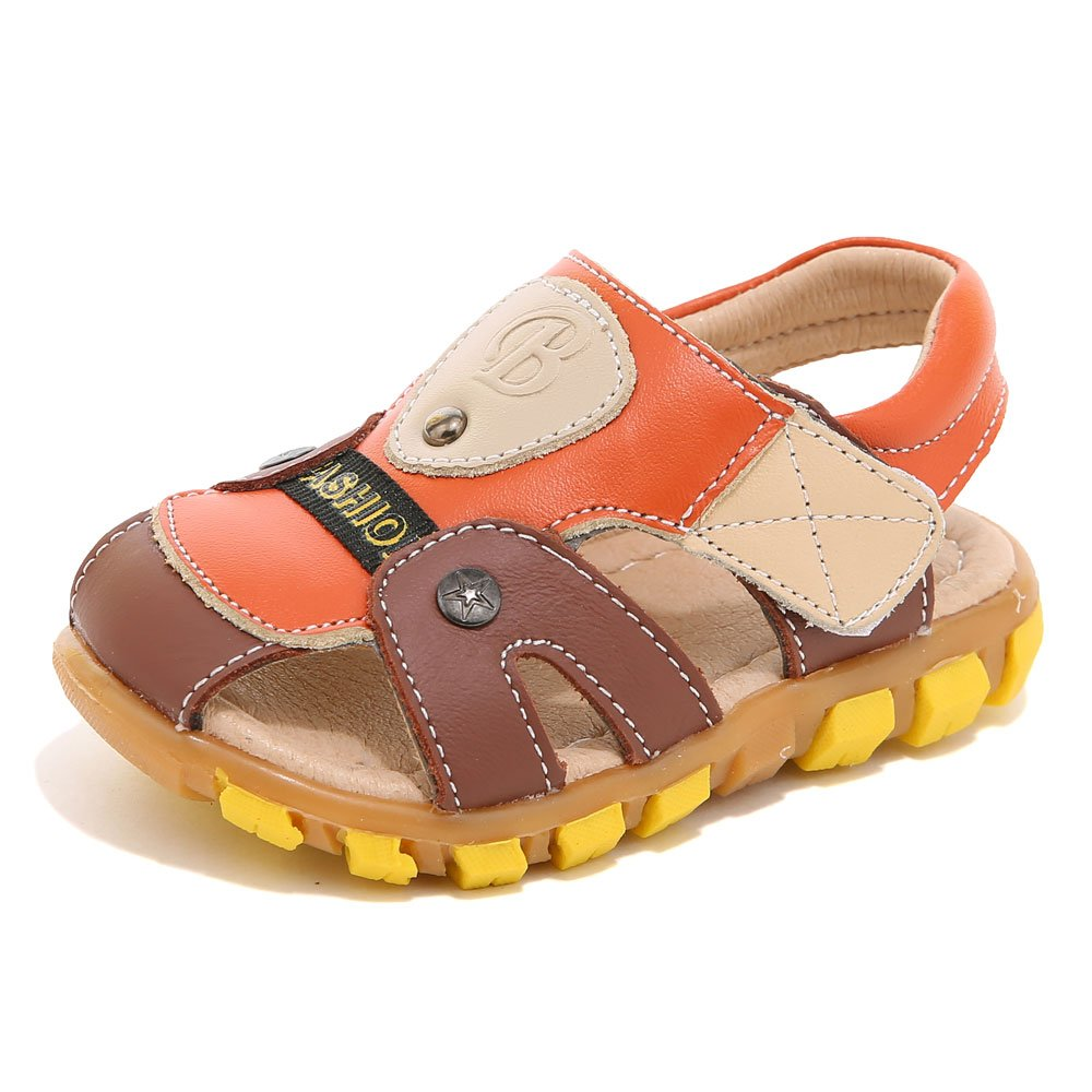 HOBIBEAR Boy's Girl' Brown/Orange Closed-Toe Leather Sport Sandal(Toddler/Little Kid) by HOBIBEAR (Image #1)