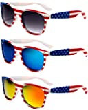 V.W.E. White Classic American Patriot Flag Sunglasses USA .