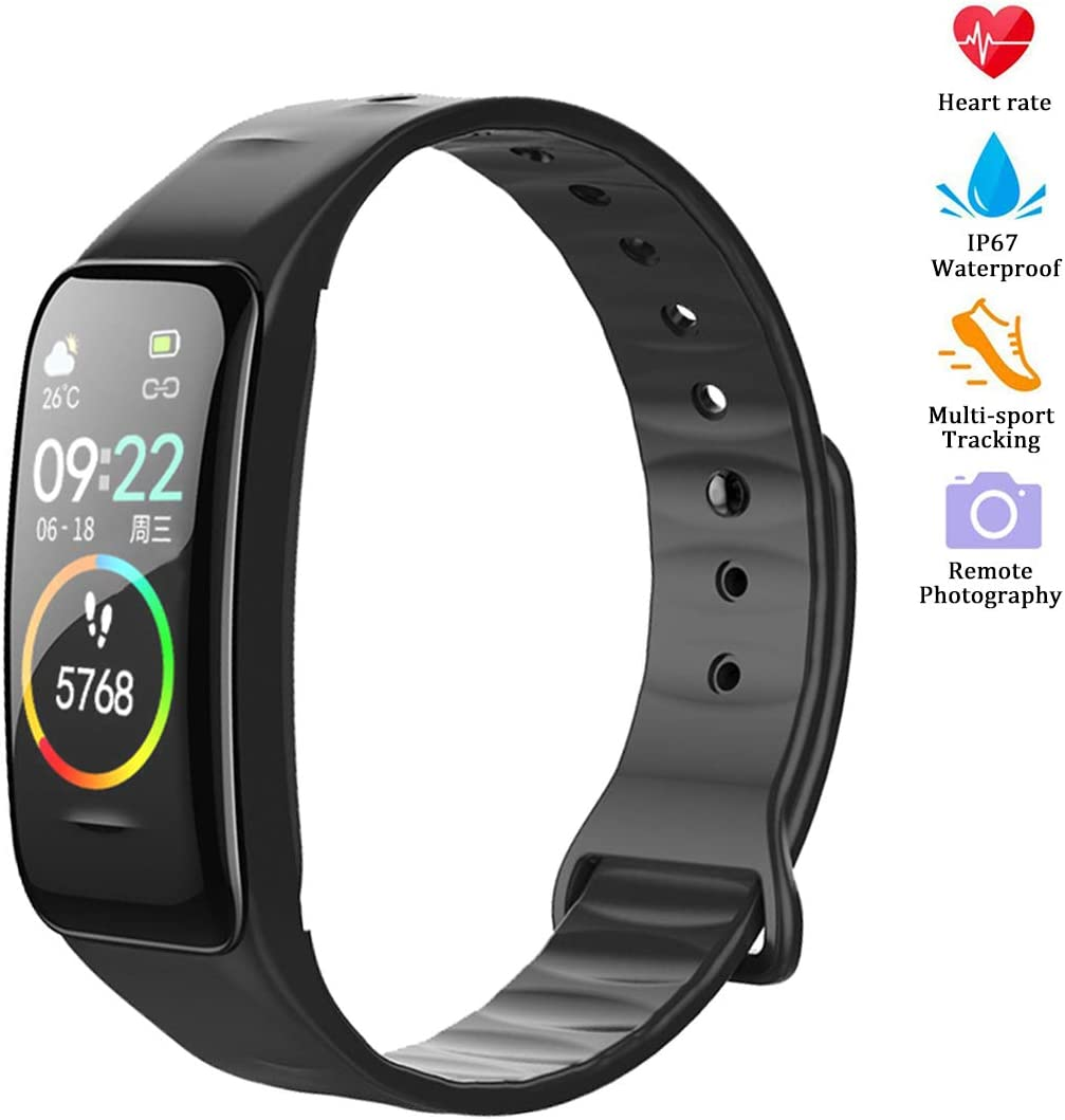 weijie Fitness Tracker, Activity Tracker Watch with Heart Rate Monitor Waterproof Smart Fitness Band with Step Calorie Counter Sleep Monitor Black Pedometer Watch for Kids Women Men for Android iPhone