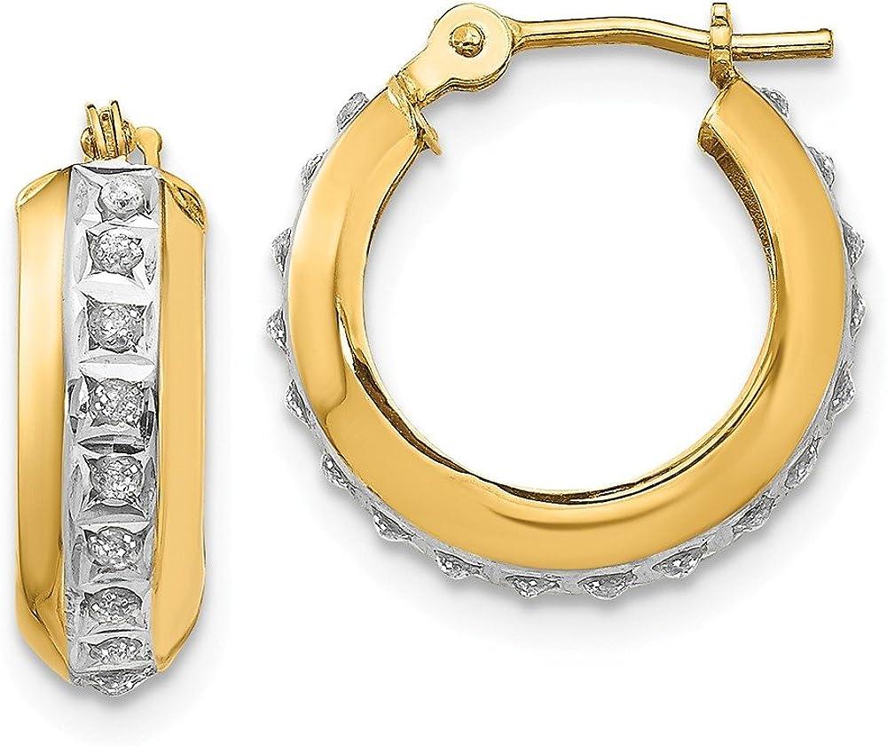 Mia Diamonds 14k White Gold Polished and Diamond-Cut Square Tube Hoop Earrings