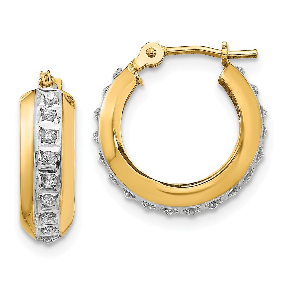 Diamond Fascination Round Huggy Hinged Hoop Earrings 16mm x 5mm 0.01cttw Mia Diamonds 14k Yellow Gold
