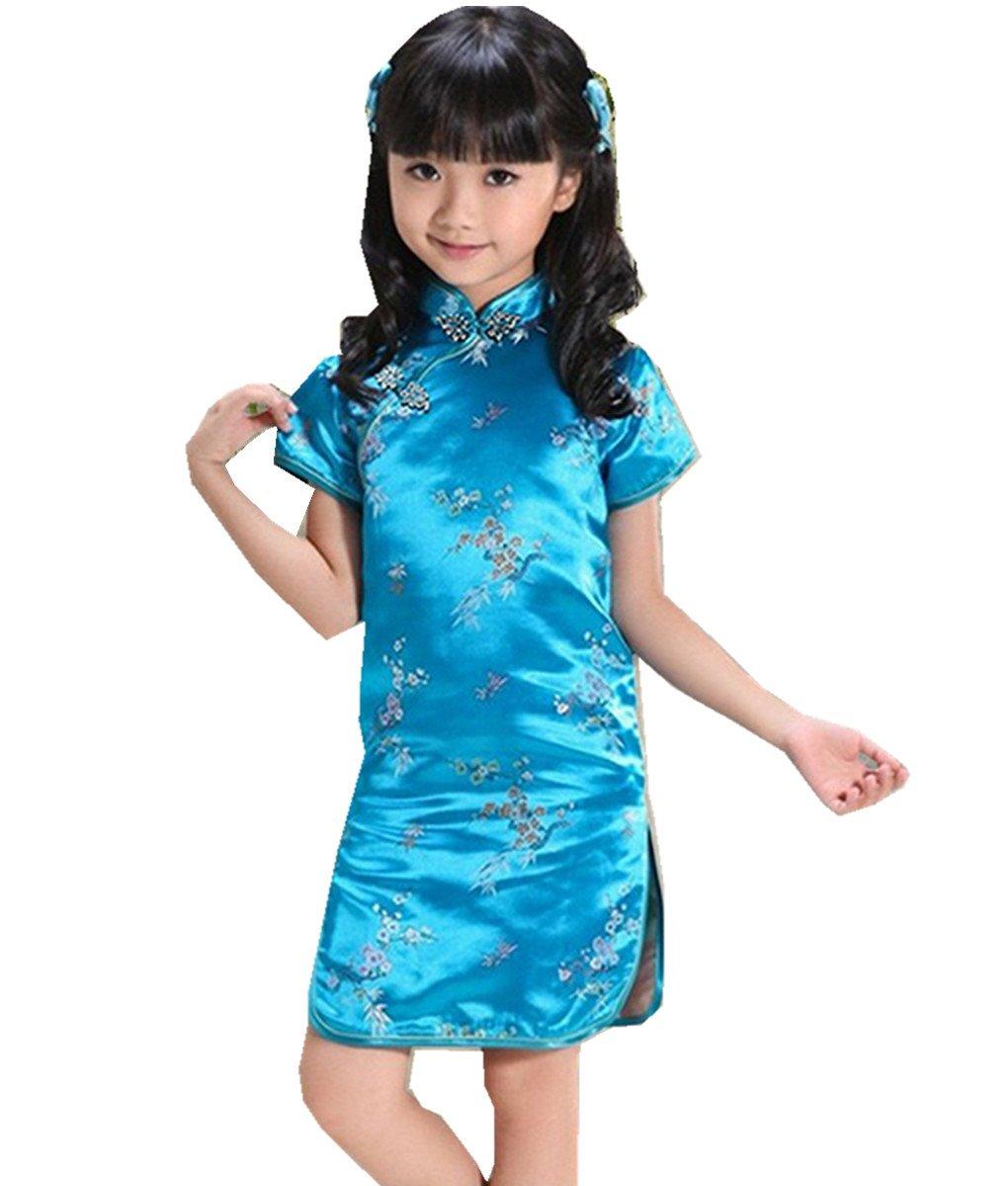 Shanghai Story Girls Plum Flower Chinese Qipao Cheongsam Dress 140cm Lake Blue