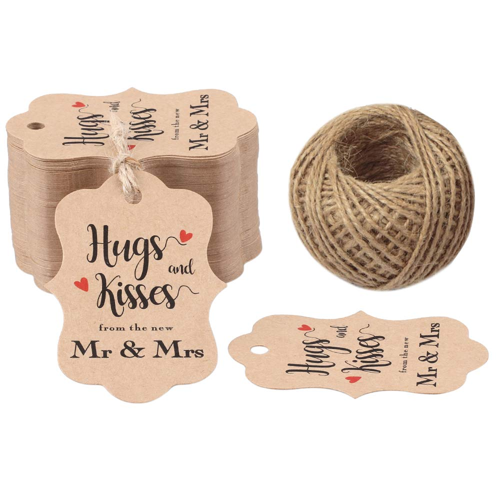 Original Design 100PCS Hugs & Kisses from The New Mr & Mrs Gift Tags, Wedding Favor Gift Tags with 100 Feet Natural Jute Twine Perfect for Bridal Baby Shower Anniversary Decoration by G2PLUS
