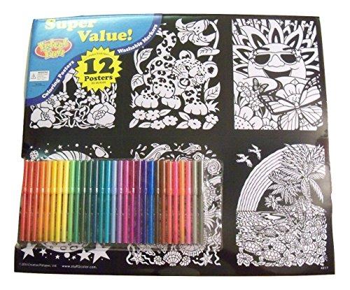 Butterfly Velvet Poster (Velvet Fun Coloring Art 12 Pack with Markers ~ Animal Adventures (Unicorn & Rainbow, Leopard Cub, Sunshine & Butterflies, Moon Nightcap, Ocean Play, Turtle Beach, Elephant Friends, Lizard & Bugs, etc))