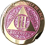 3 Year Elegant Glitter Pink Gold Silver Bi-Plated AA Medallion Chip III