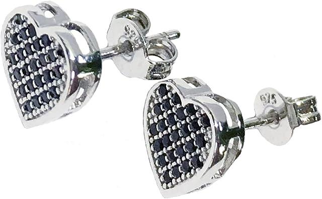 2 Paires Femmes Dame élégante cœur cristal strass argent oreille Clous D/'Oreilles Cadeau