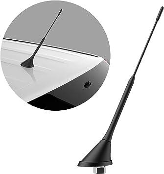 NAVITEC24 - Antena Dab para Radio de Coche, DIGIATAL Dab+, Cable de 5 m, con Amplificador, Adaptador DIN y SMB para Radio de Coche Dab Plus de 23 cm