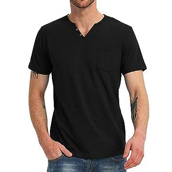 Amazon.com: MIS1950s Henley Camisas de manga corta para ...