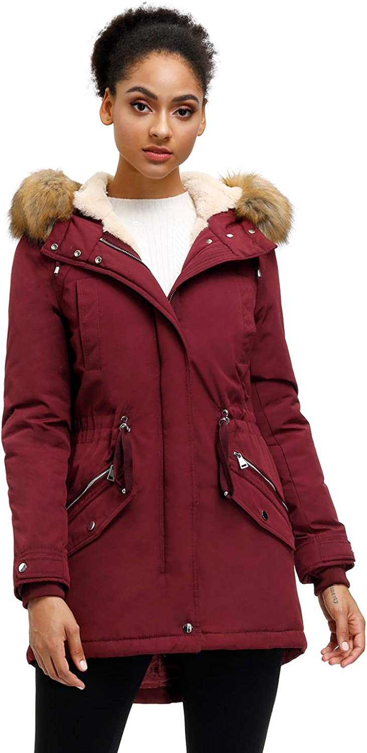 Royal Matrix Womens Full Zip Warm Hooded Parka Coat Water-Resistant Sherpa Lined Winter Jacket with Removable Faux Fur