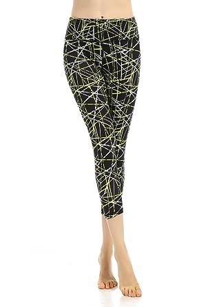a210d8e4f6990 Honofash Leggings Gym for Women Cropped Patterned Capri Girls Sports  Running Yoga Pants Tights 3/