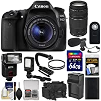 Canon EOS 80D Wi-Fi Digital SLR Camera & EF-S 18-55mm IS STM with 75-300mm III Lens + 64GB + Battery + Case + Flash + LED Light + Mic + Stabilizer Kit