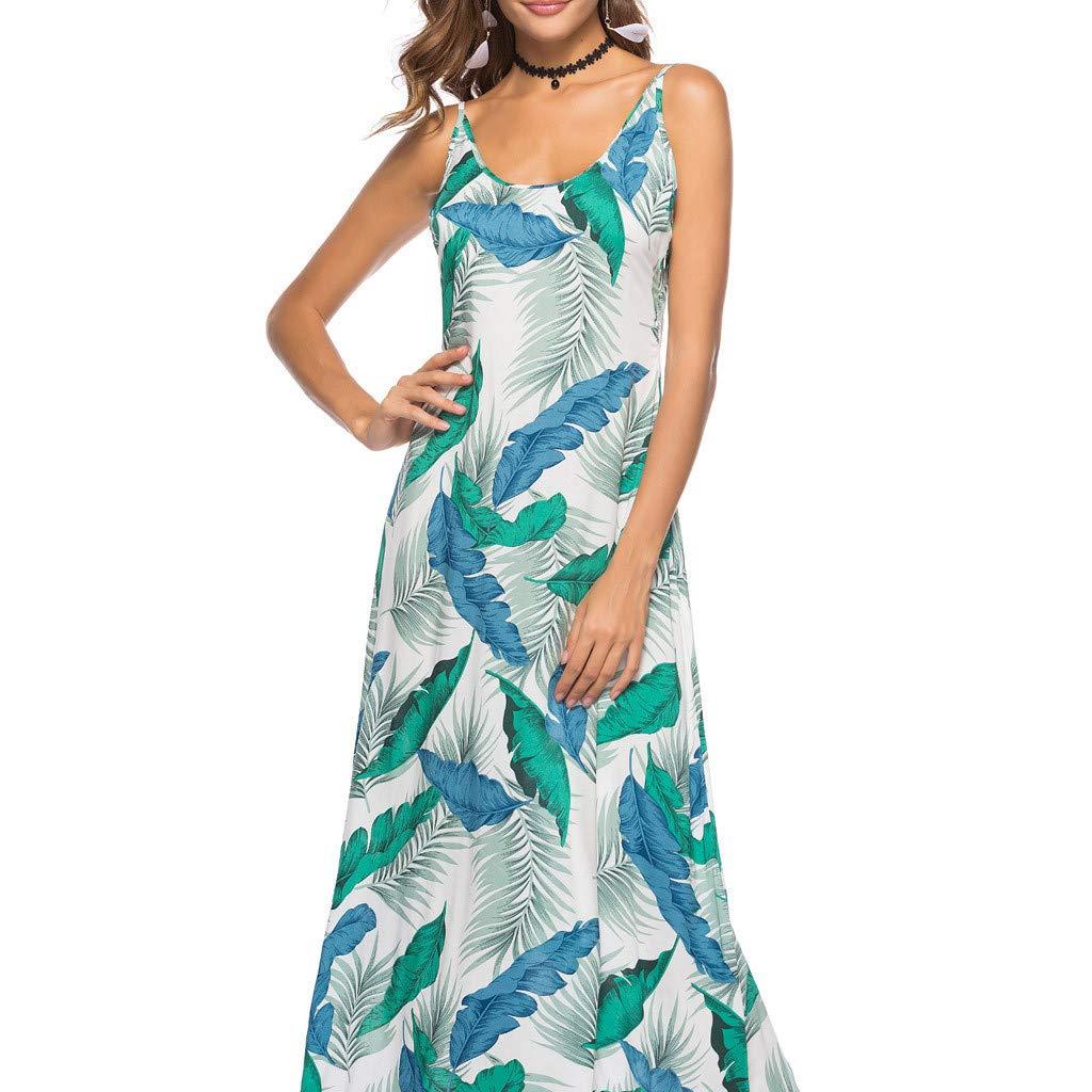 SANFASHION Maxikleider Kleid Damen Sommer Boho Floral Lange /ärmellose Abendgesellschaft Strand Sommerkleid