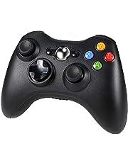 Diswoe Xbox 360 Controller, Wireless Game Controller di Gioco per Microsoft Xbox 360 PC Windows 7/8/10, doppia vibrazione, design ergonomico - Nero