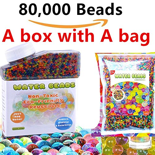 A box and A bag HYMONA Water Beads,weight of 12 OZS 80.000 beads Water Beads , Flash Water Beads Sooper Beads Crystal Soil Water Bead Gel For Orbeez Refill, Sensory Toys, Vase Filler,