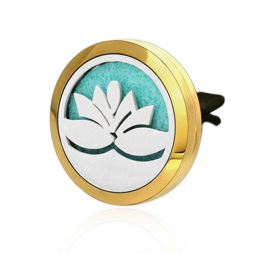 Aromatherapy Car Air Freshener Essential Oil Diffuser Vent Clip Lotus Gold Locket CZDD