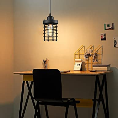 Industrial Light Vintage Industrial Pendant Lighting Fixture with 1×6 Watt Edison Led Bulbs 1 set