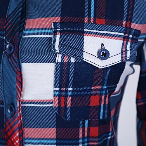 1 Botones Largas Para Urban Camisas Tartan Y Goco De Con Mujeres Abajo Mangas Clásica pwT4qRF