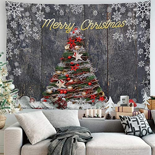 PROCIDA Merry Christmas Tapestry Wall Hanging Winter Holiday Happy New Xmas Home Christmas Starry Snowy Night Decor for Dorm Bedroom Living Room, 90 W x 71 L, Colorful Christmas Tree