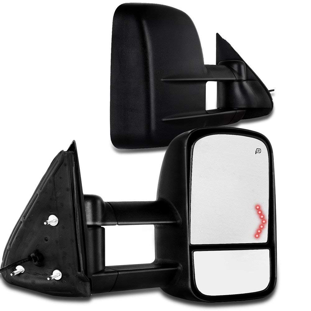 SCITOO fit Chevy GMC Towing Mirrors with Puddle Lights Chrome Rear View Mirrors fit 2007-2013 Chevy GMC with Amber Arrow Turn Signal Power Control Heated Manual Telescoping Folding