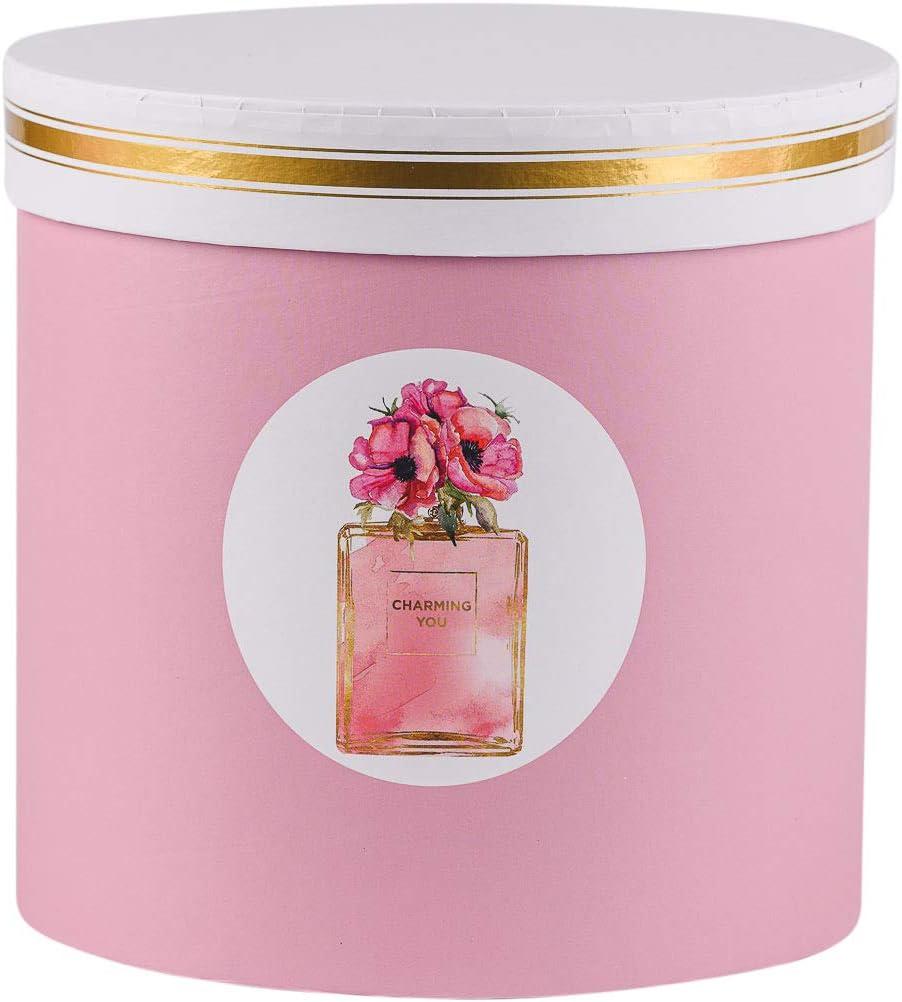personalizzabili con cordoncino scatola con coperchio set da 3 in tinta unita Set di 3 scatole per fiori rotonde