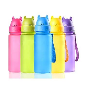 trinkflassche para niños Botella de agua 400 ml plástico Solapa Sin BPA caño botellas seguro para